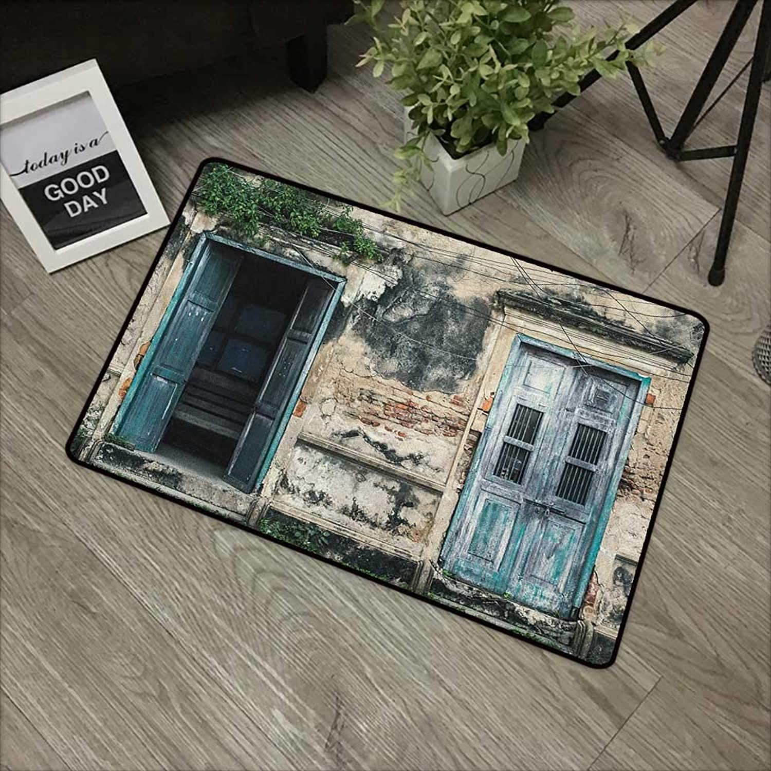 Floor mat W35 x L59 INCH Rustic,Doors of Old Rock House with French Frame Details in Countryside European Past Theme, Teal Grey Non-Slip, with Non-Slip Backing,Non-Slip Door Mat Carpet
