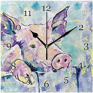 Konstfärg djur gris mönster väggklocka tyst icke-tickande fyrkantig konstmålning klocka för hem kontor skoldekor