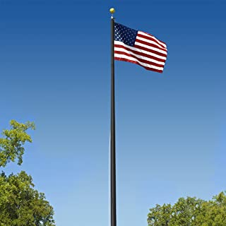 Super Tough Commercial Grade Sectional 20ft. Flagpole - Black Anodized - US Made