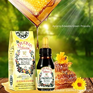 Official Distributor (Royal Apis Global Limited) - 1 Bottle of Apiario Silvestre Brazilian Green Bee Propolis Liquid Glycolic Extract-Non Alcoholic, Wax Free, Sugar Free