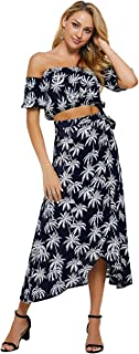 Womens 2 Piece Outfits Floral Crop Top and Maxi Skirt Set