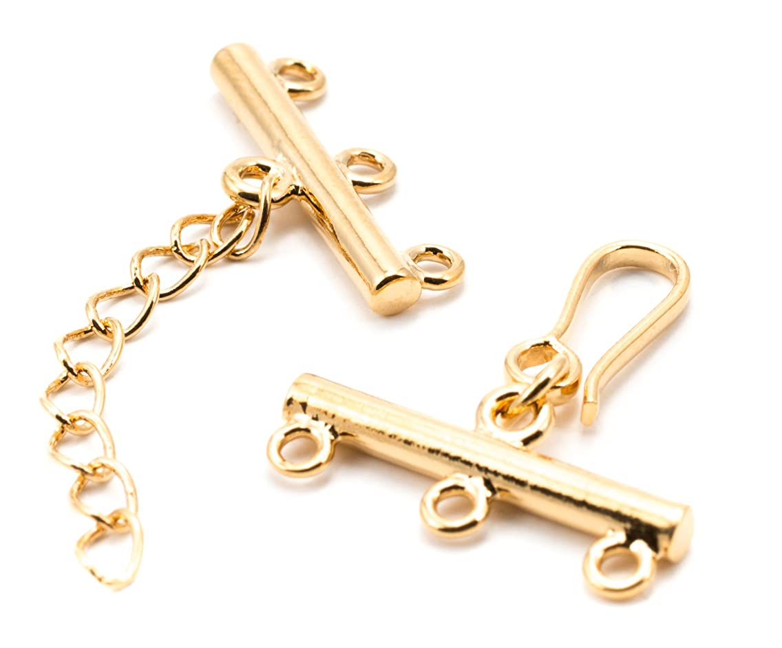 18mm Plated Rose Gold 3-Strand Rod Clasp - 1 Set