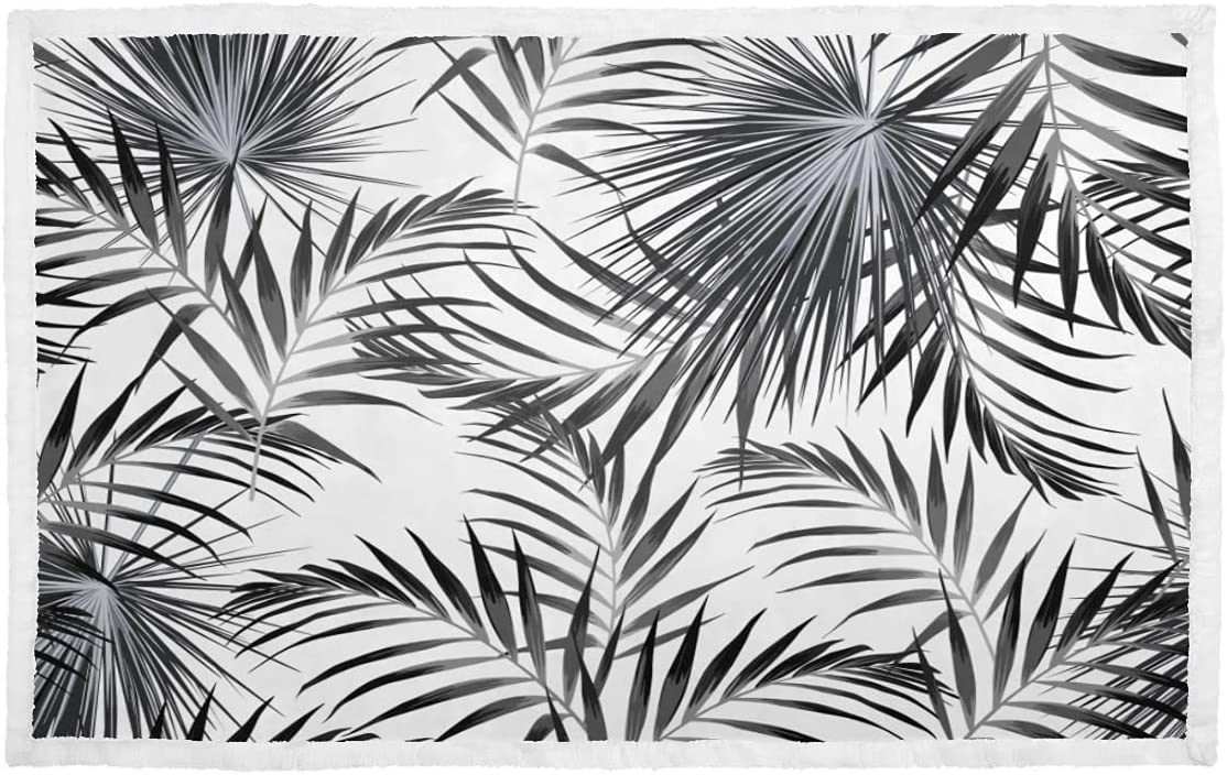Dog Blankets Sale item specialty shop for Large Dogs Black Tropical Leaves White Pup Palm