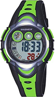 Jewtme Pasnew Kids Outdoor Sports Watches LED Waterproof Sports Digital Watch for Children Girls Boys Rubber strap Green