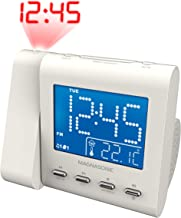 Magnasonic Projection Alarm Clock with AM/FM Radio, Battery Backup, Auto Time Set, Dual Alarm, Nap/Sleep Timer, Indoor Temperature/Date Display with Dimming & 3.5mm Audio Input – White (EAAC601W)