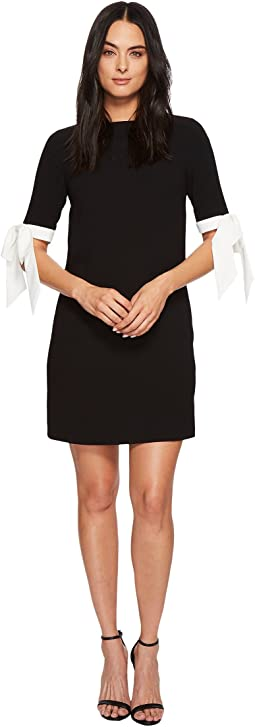 CeCe - 3/4 Sleeve Moss Crepe Shift Dress w/ Bows