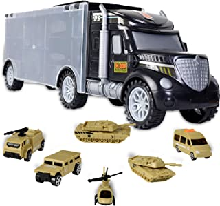WolVol Military Transport Car Carrier Truck Toy with Army Battle Cars & Choppers Toys Inside - Great Toy for Kids Who Love Action and Vehicles