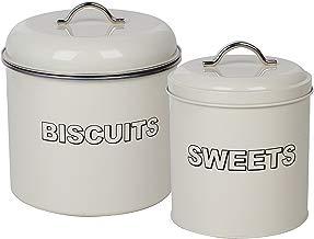 CrazyGadget® Vintage tarro para galletas y dulces Set Classic Retro Metal Cocina Almacenamiento Set: Galletas y Dulces tarro para Tin Set en color crema