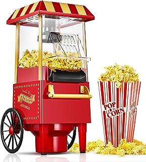 Machine à Pop Corn Rétro, 1200W Chaud Air Machine à Popcorn pour la Maison, Machine à Pop-corn sans Graisse et Huile, pour...