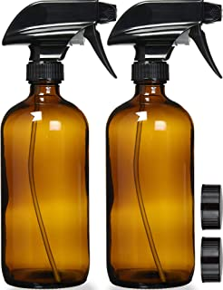 Empty Amber Glass Spray Bottles with Labels (2 Pack) – 16oz Refillable Container..