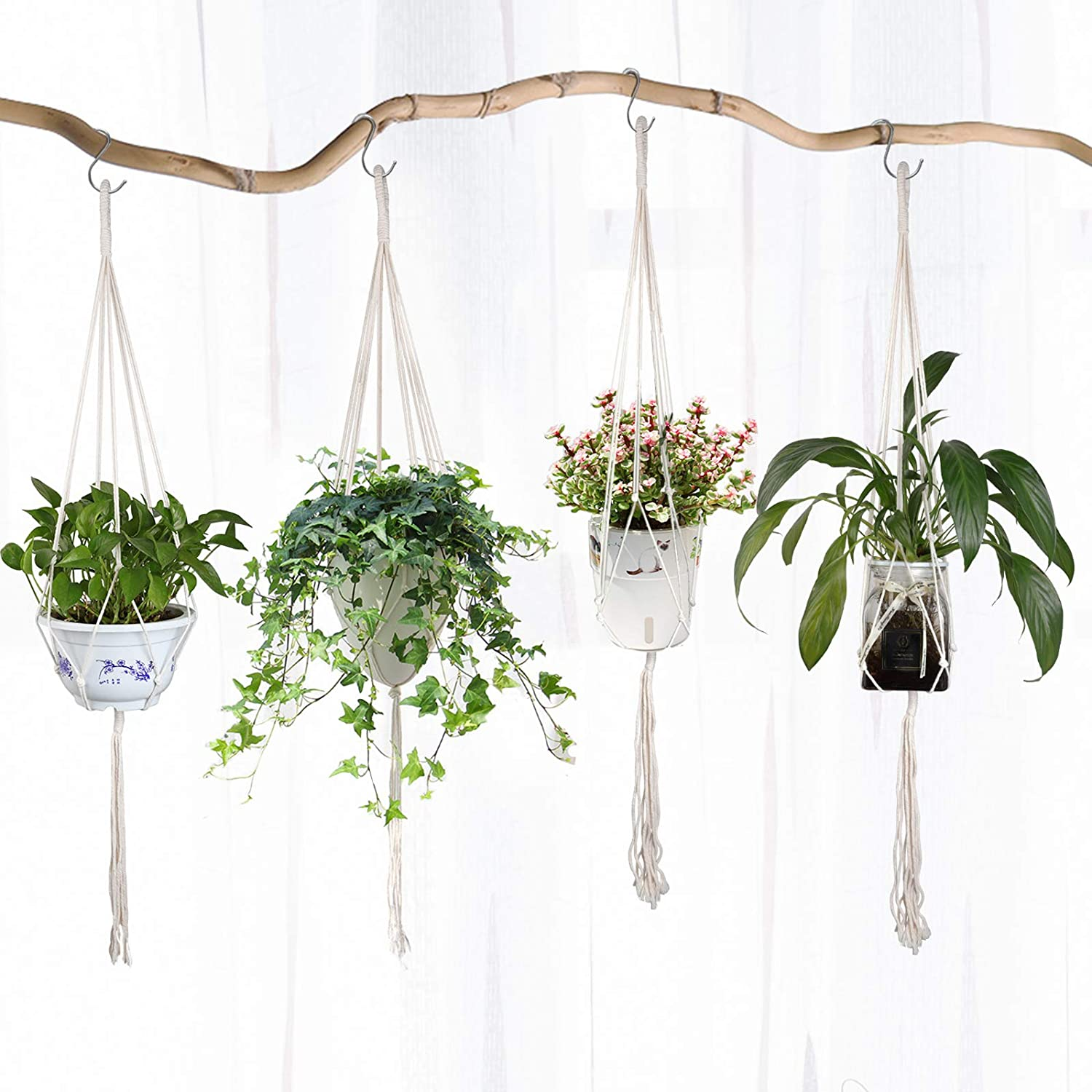WDCD 4 100% quality Many popular brands warranty Pack Macrame Plant with Hooks Indoor Hangers Hanging