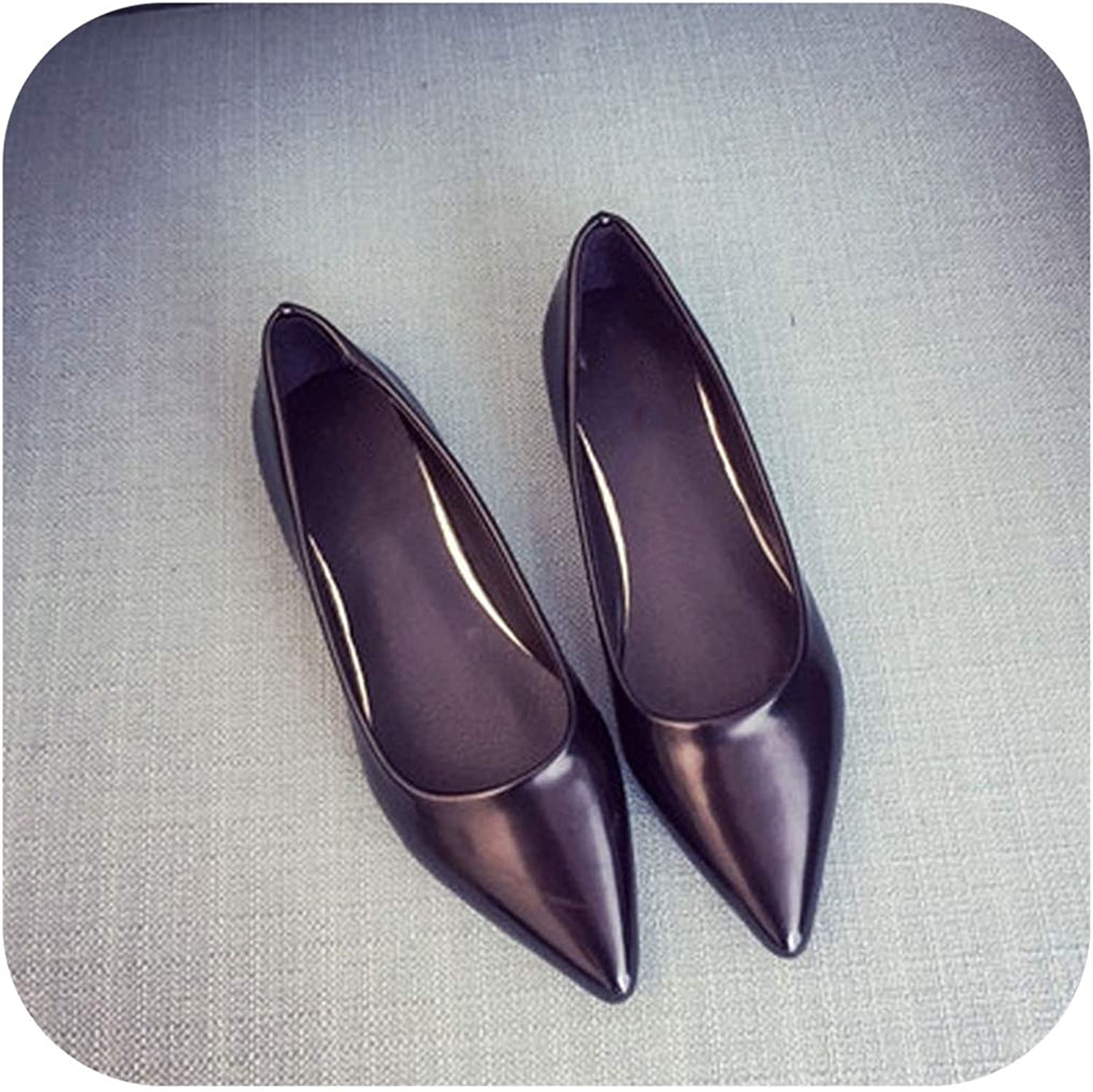 Fashion Japanned Leather Pointed Toe Flat Shallow Mouth Women's Flat Heel shoes Pink Leather Single shoes