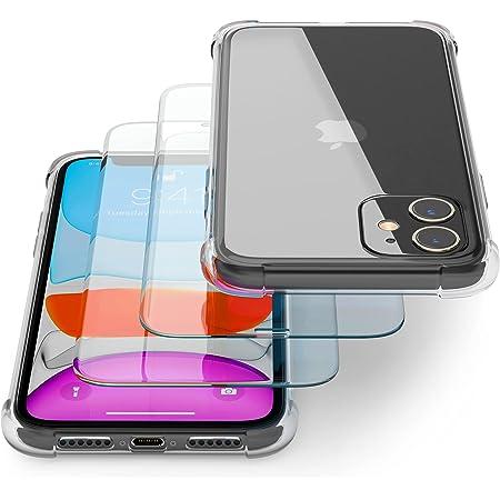 Transparente Coque pour IPhone 11 avec Verre Trempé/Film Protection écran (2 Pack) – Transparent Etui Compatible avec Apple iPhone – Souple TPU Silicone Housse – Transparent Antichoc case Anti-Scratch