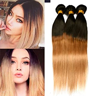 Dai Weier Brazilian Blonde Honey #27 Straight Weave Bundle 3 Packs Remy Human Hair Extension Weft Cheap 14 16 18 Inches