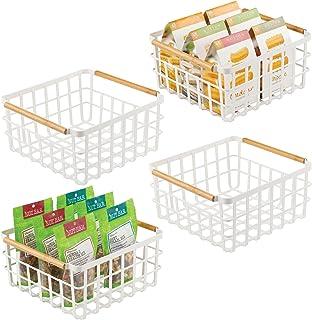 mDesign Juego de 4 cajas multiusos de metal – Caja organizadora multifunción para cocina, despensa, etc. – Cesta de almace...