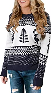 GRAPENT Women's Crewneck Ugly Christmas Reindeer Tree Pullover Knitted Sweater