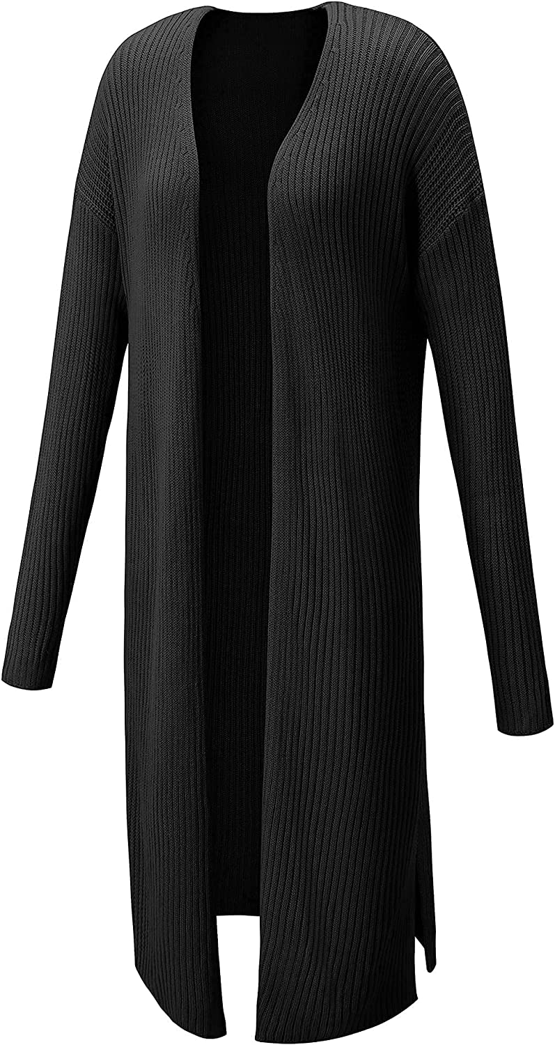 LAISHEN Women's Casual Long Open Front Drape Lightweight Duster Maxi Long Sleeve Cardigan Sweaters with Side Slits