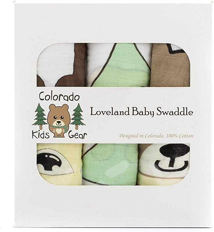 Colorado Kids Gear All Natural Cotton Muslin Baby Swaddle Blankets 3 Pack Breathable Soft Cotton For Boy Or Girl Baby Shower Or Newborns ColorFast Washable Fabric Ideal For Delicate Skin