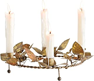 Creative Co-Op 11 Inch Round Metal Wreath Taper Candle Holder, Gold