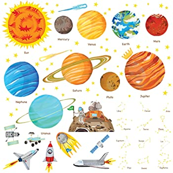 DECOWALL DW-1501S The Solar System Kids Wall Stickers Wall Decals Peel and Stick Removable Wall Stickers for Kids Nursery Bedroom Living Room (Medium) décor