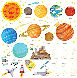 DECOWALL DW-1501S The Solar System Kids Wall Stickers Wall Decals Peel and Stick Removable Wall Stickers for Kids Nursery Bedroom Living Room (Medium)