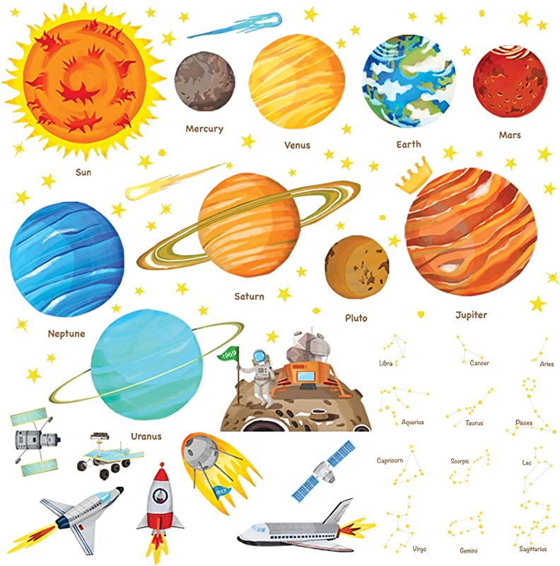 Decowall DW 1501S The Solar System Kids Wall Stickers Wall Decals Peel And Stick Removable Wall Stickers For Kids Nursery Bedroom Living Room Medium