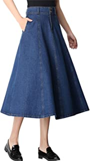 Tanming Women's High Waist Pleated Long Denim Skirt