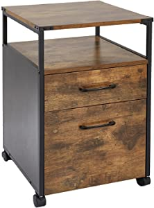 Mobile Office Cabinet Wood Rolling File Cabinet Printer Stand with 2 Drawer,Open Shelf,Industrial Style Under Desk Filing Storage Cabinet with Wheels for Home Office,Rustic Brown,16.3x17.9x25.8 inch