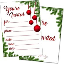 Christmas Party Invitations with Envelopes Holiday Invitations Winter Snowflake New Years Bridal or Baby Shower Invite Wedding Rehearsal Dinner Reception Anniversary Housewarming Fill in (25 Cards)
