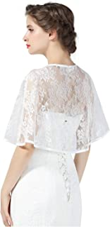 Lace Cape Wedding Capelet Women Shawl Bridal Cover Up Wrap Bolero for Dress Party Black White Red