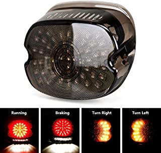 Harley Davidson Smoked LED Tail Light Brake Turn Signal Lights for 2002-2010 FXST Models Harley Sportster 1200 Dyna Smoke Lens Lay Down Style