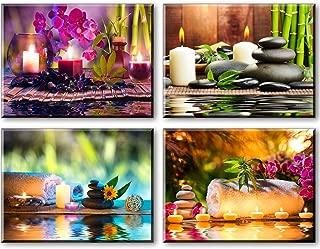 PIY 4x Cuadro sobre lienzo imagen de tratamiento de spa con velas de bambú piedra Zen Canvas Wall Art de la Lona listo para Colgar Cuadros Sobre el Lienzo con Colgante Para Sala Comedor Cocina 30x40cm