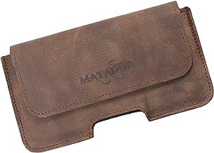 MATADOR Gürteltasche Leder kompatibel zu iPhone 8/12 Mini Ledertasche Handytasche Hülle Case Gürtelclip,Gürtel-Schlaufe Magnetverschluss Tabacco Braun