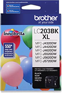 Brother Genuine High Yield Black Ink Cartridge, LC203BK, Replacement Black Ink, Page Yield Up To 550 Pages, Amazon Dash Re...