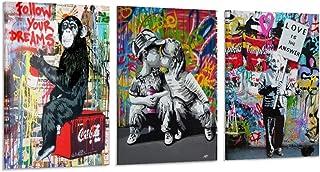 Lot de 3 affiches d'art sur toile Grand Tableau Street Art et décoration murale moderne pour chambre à coucher 40 x 60 cm