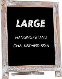 """Rustic Chalkboard Sign, NEARPOW 15""""x12"""" Tabletop Stand and Wall Hanging Display, Pine Wood Frame with Smooth Magnetic Surface Chalk Board Easel for Home Decoration, Wedding, Kitchen, Menu(Whitewashed)"""