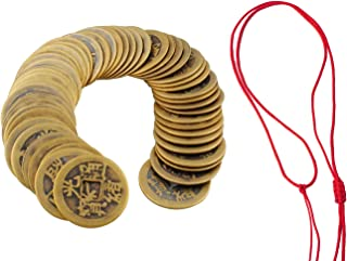 5 Styles Boao 10 Sets Chinese Fortune Coins Feng Shui Coins I-ching Coins Traditional Coins with Red String for Wealth and Success