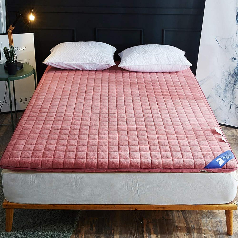 Antibacterial Mattress,1.8m Bed Thickened Anti-mite 1.5 m Bed Anti-Slip Tatami 1.2m 0.9m Student pad Portable Sleeping pad-Pink 90x190cm(35x75inch)