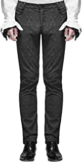 Devil Fashion Mens Formal Pants Black Brocade Gothic Steampunk Aristocrat Long panst