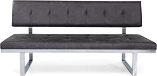 Christopher Knight Home Chloe Contemporary Sofa Bench, Upholstered, Tufted, Microfiber and Iron, Slate and Chrome
