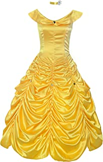 Womens Princess Belle Costume Layered Dress up