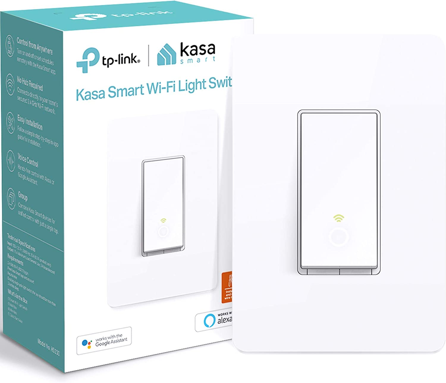 Kasa Smart Light Switch HS200, Single Pole, Needs Neutral Wire, 2.4GHz Wi-Fi Light Switch Works with Alexa and Google Home, UL Certified, No Hub Required , White