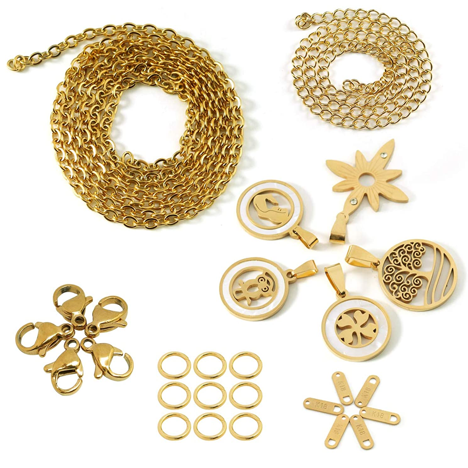 Forise 8 feet Gold Stainless Steel Necklace Jewelry Chain with 5 Charms Pendants,15 Jump Rings and 6 Lobster Clasps and 12 Inch Tail Chain for DIY Necklace Making Jewelry Repair Kits