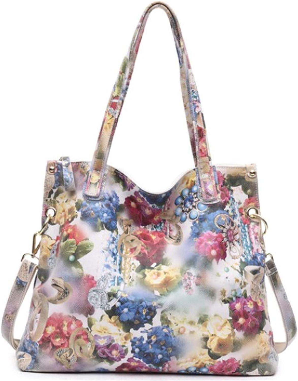 Luxury Flower Designer Big Shoulder Bag 100% Real Leather Shiny Flower Blossom Embossed Lady Messenger Handbags Multi