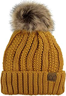BYSUMMER C.C Cable Knit Beanie with Faux Fur Pom - Warm, Soft, Thick Beanie Hats for Women & Men (Mustard)