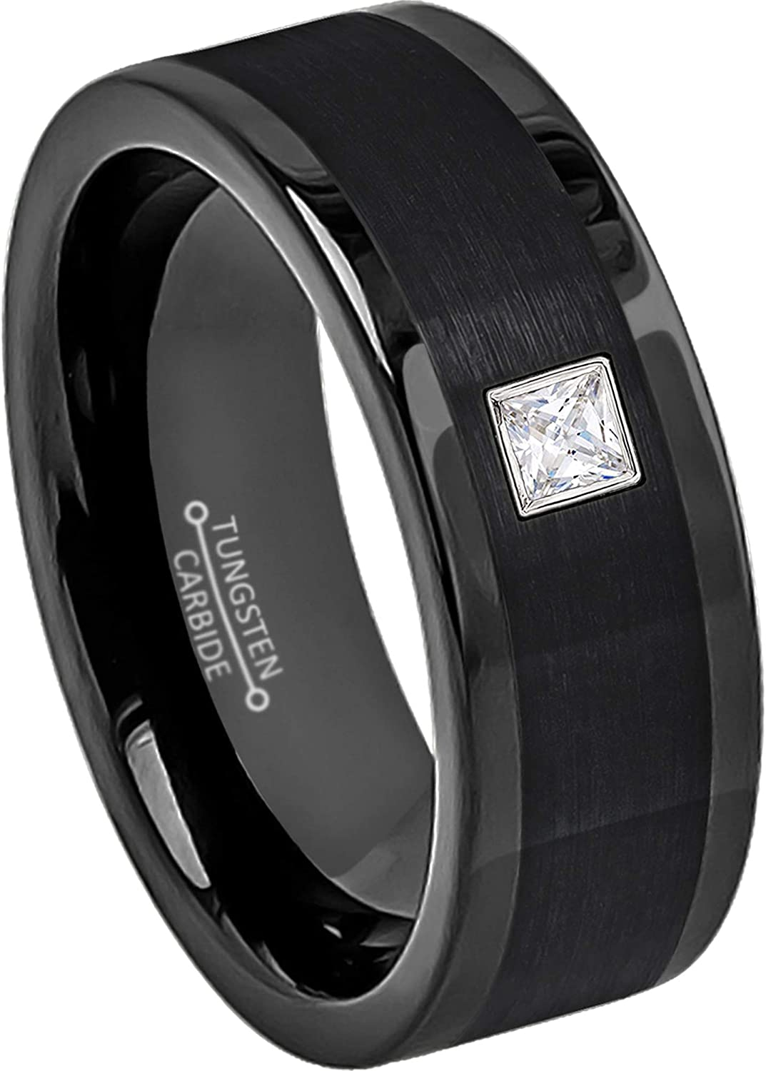0.10ctw Solitaire Purchase Princess Cut Diamond Brush 8MM Ring Tungsten - Ranking TOP15