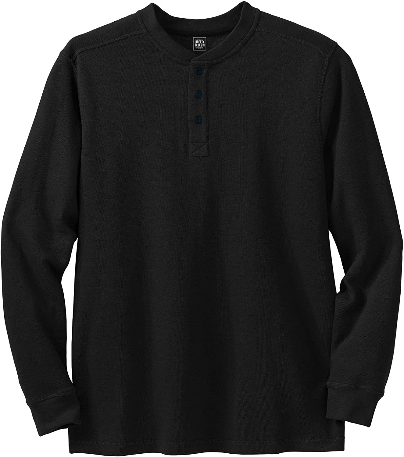 Liberty Blues Men's Big & Tall Easy-Care Ribbed Knit Henley Henley Shirt