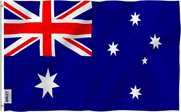 Anley Fly Breeze 3x5 Foot Australia Flag Vivid Color And UV Fade Resistant Canvas Header And Double Stitched Australian National Flags Polyester With Brass Grommets 3 X 5 Ft