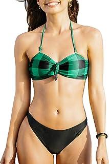 CUPSHE Women's Green Plaid Bandeau Bikinis Set