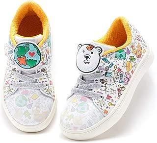 WÄLADO Kid's Earth & Polar Bear Cartoon Shoe Hook and Loop Strap Low-Top Sneaker (Toddler/Little Kid)